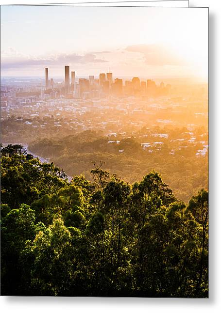 Living Room Dining Room Greeting Cards - Sunrise Over Brisbane Greeting Card by Parker Cunningham