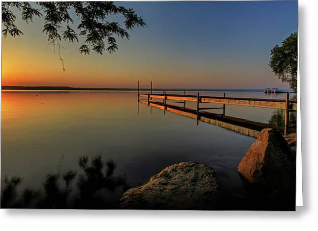 Dock Greeting Cards - Sunrise over Cayuga Lake Greeting Card by Everet Regal