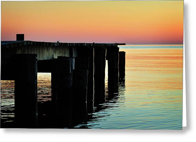 Calvert Greeting Cards - Sunrise Over Chesapeake Bay Greeting Card by Rebecca Sherman