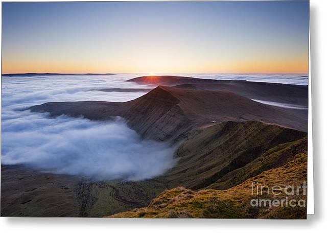 Temperature Inversion Greeting Cards - Sunrise over Cribyn, from Pen y Fan. Brecon Beacons, Wales Greeting Card by Justin Foulkes