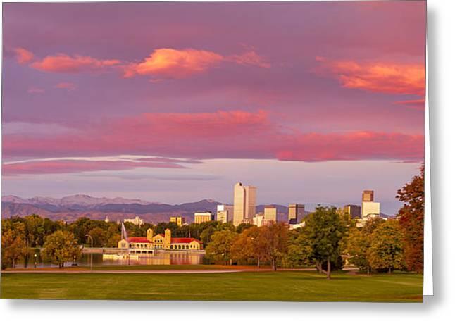 Sunrise Over Denver Colorado Skyline In Fall Greeting Card by Teri Virbickis