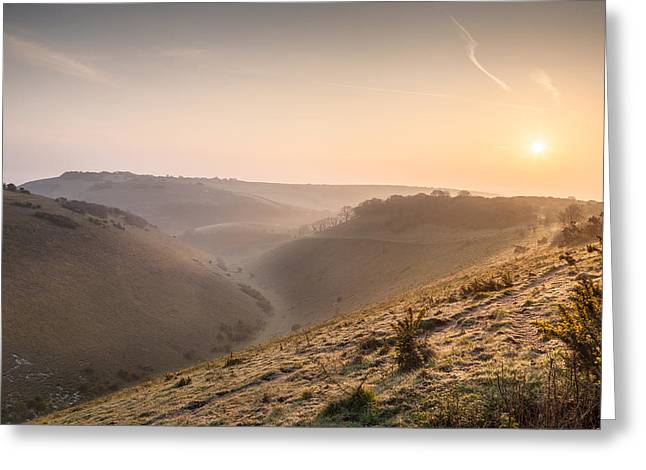 Woodland Scenes Greeting Cards - Sunrise over Devils Dyke Greeting Card by Stuart Gennery