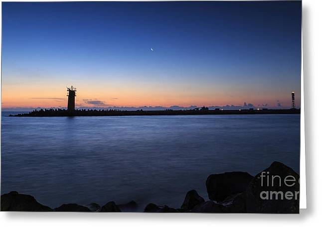 Ocean Sailing Greeting Cards - Sunrise over lighthouse - Beautiful seascape Greeting Card by Mohamed Elkhamisy