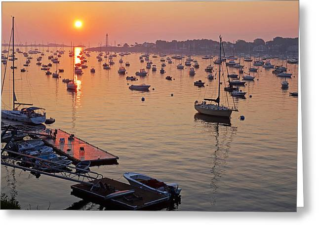 Docked Sailboats Greeting Cards - Sunrise Over Marblehead Harbor on a Hazy Summer Morning Greeting Card by Toby McGuire