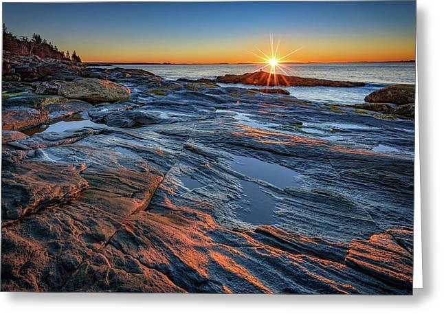 Sunrise Over Muscongus Bay Greeting Card by Rick Berk