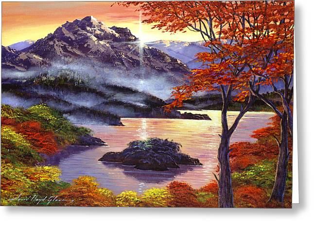 Autumn Landscape Paintings Greeting Cards - Sunrise Over Mystic Lake Greeting Card by David Lloyd Glover