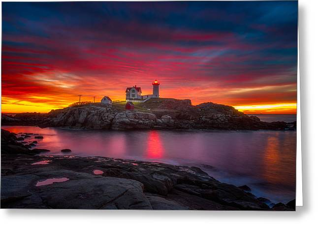 Sunrise Over Nubble Light Greeting Card by Darren  White