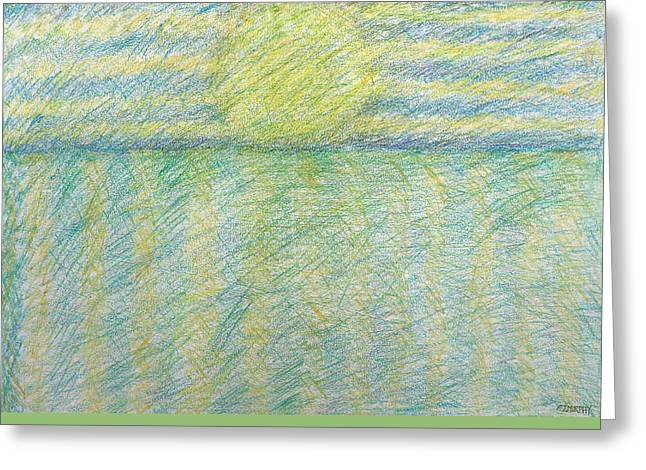 Abstract Seascape Drawings Greeting Cards - Sunrise Over Ocean Greeting Card by Patrick J Murphy