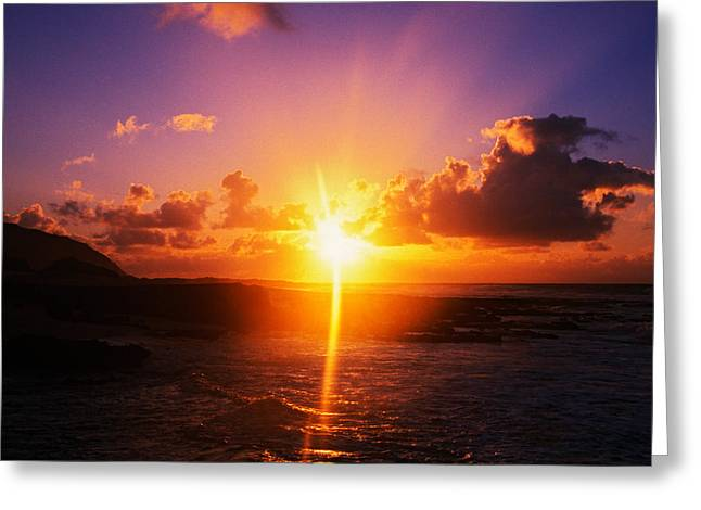 Sunrise Over Ocean, Sandy Beach Park Greeting Card by Panoramic Images