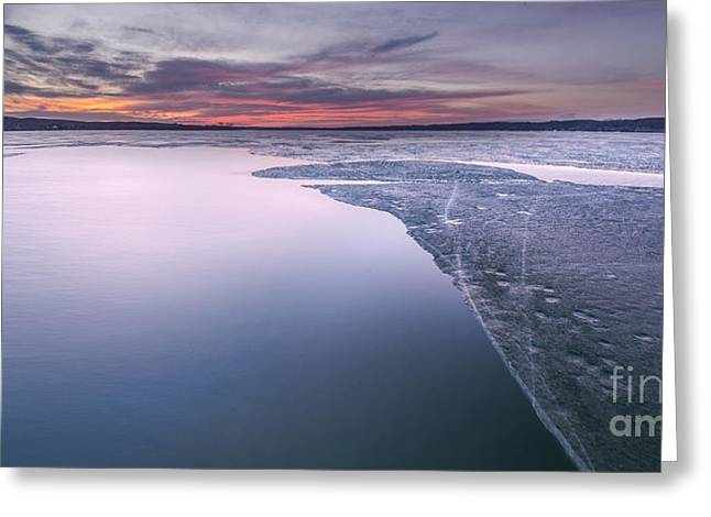 Portage Photographs Greeting Cards - Sunrise over Portage Lake Greeting Card by Twenty Two North Photography