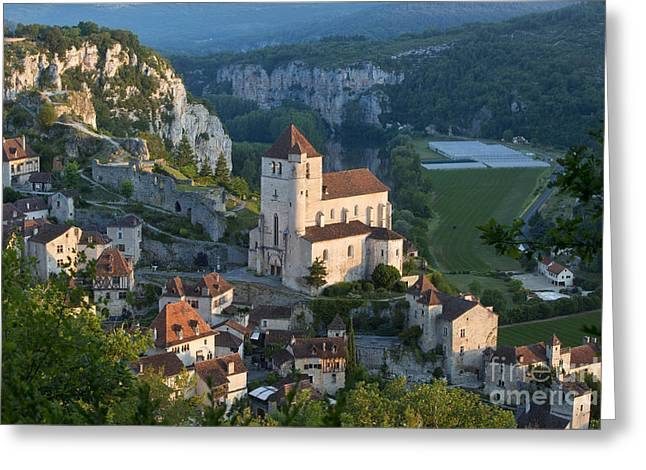 Vallee Greeting Cards - Sunrise over Saint-Cirq-Lapopie Greeting Card by Brian Jannsen