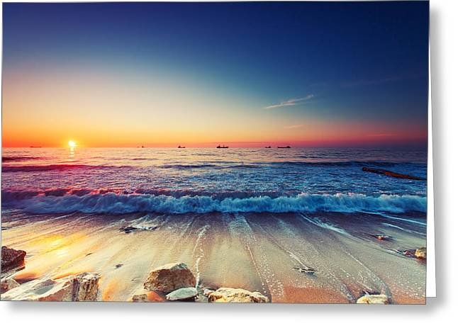 Panoramic Ocean Greeting Cards - Sunrise over sea Greeting Card by Valentin Valkov