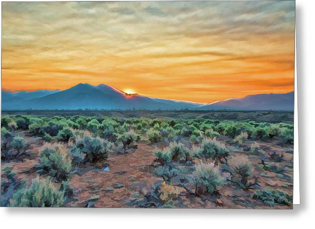 Sunrise over Taos Greeting Card by Charles Muhle