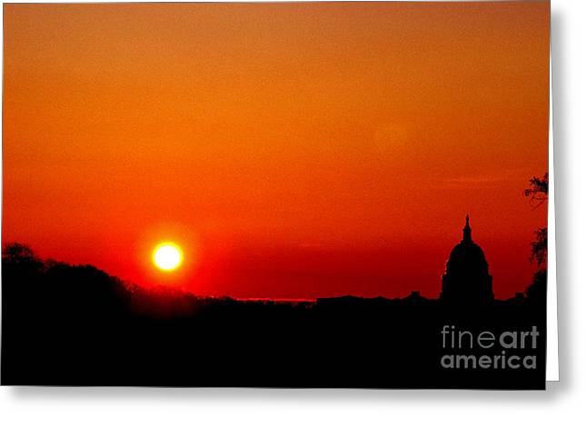 Seat Of Power Greeting Cards - Sunrise over the Capitol Washington DC Greeting Card by Thomas R Fletcher