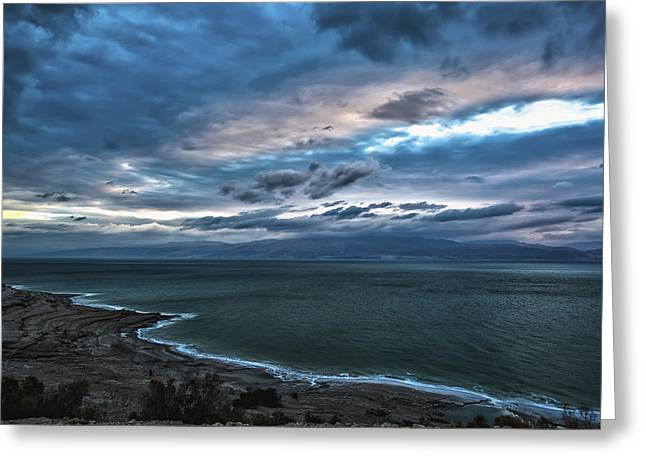 Dead Sea Greeting Cards - Sunrise Over The Dead Sea Israel Greeting Card by Reynold Maines