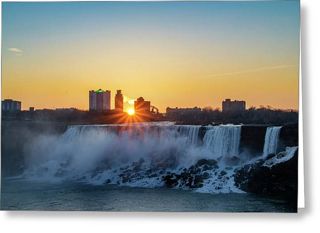 Sunrise Over The Niagara Falls Greeting Card by Bill Cannon