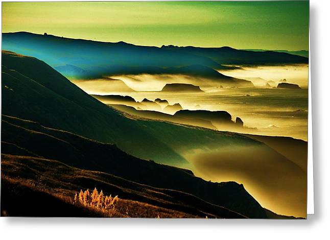 Fog Rising Greeting Cards - Sunrise over the Pacific Greeting Card by Helen Carson