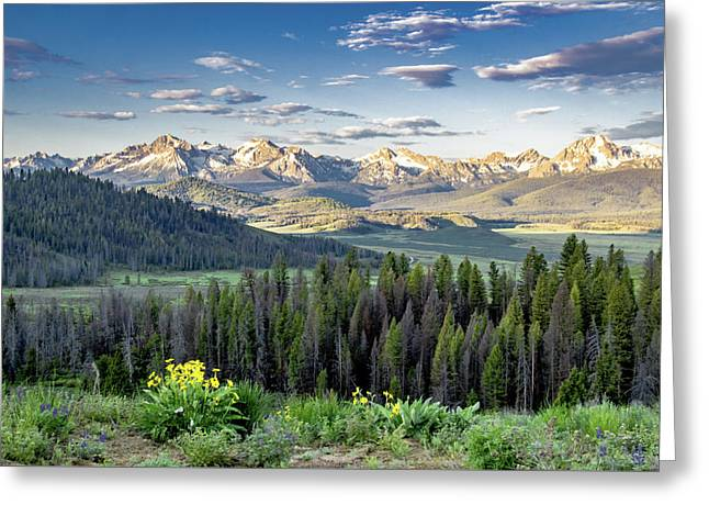 Recently Sold -  - Mountain Valley Greeting Cards - Sunrise over the Sawtooth valley Greeting Card by Link Jackson