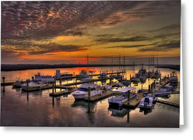 Bull Creek Greeting Cards - Sunrise Over Tybee Bull River Marina Greeting Card by Reid Callaway