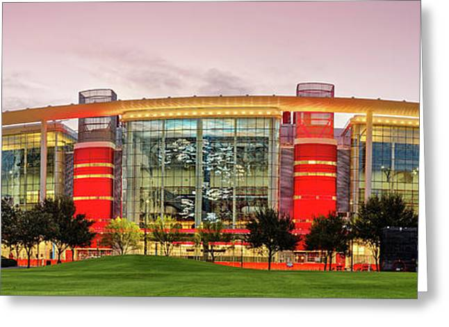 Sunrise Panorama Of George R Brown Convention Center In Downtown Houston - Texas Greeting Card by Silvio Ligutti