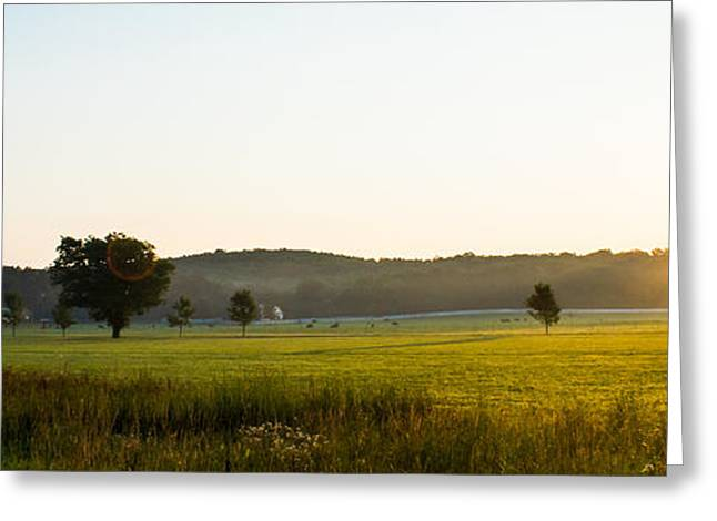Amazing Sunset Greeting Cards - Sunrise Panorama Greeting Card by Shelby  Young
