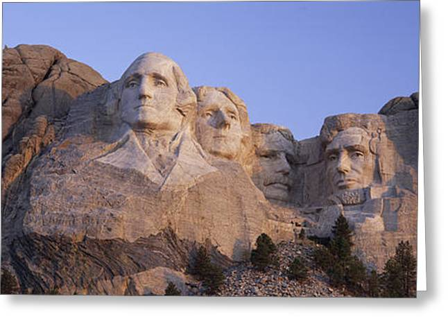 Sunrise Panoramic Image Of Presidents Greeting Card by Panoramic Images