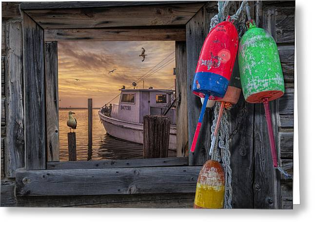 Water Vessels Greeting Cards - Sunrise Photograph of Boat with Gulls and Fishing Bouys Greeting Card by Randall Nyhof