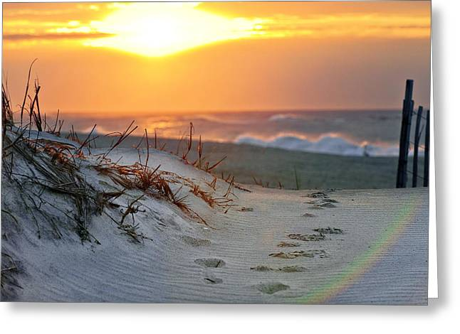 Robert Moses Greeting Cards - Sunrise Rainbow Greeting Card by Vicki Jauron