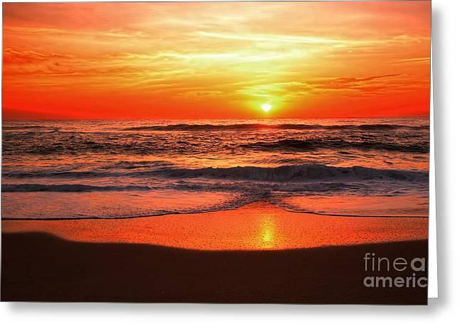 Beach Photography Greeting Cards - Sunrise Reflecting by Kaye Menner Greeting Card by Kaye Menner