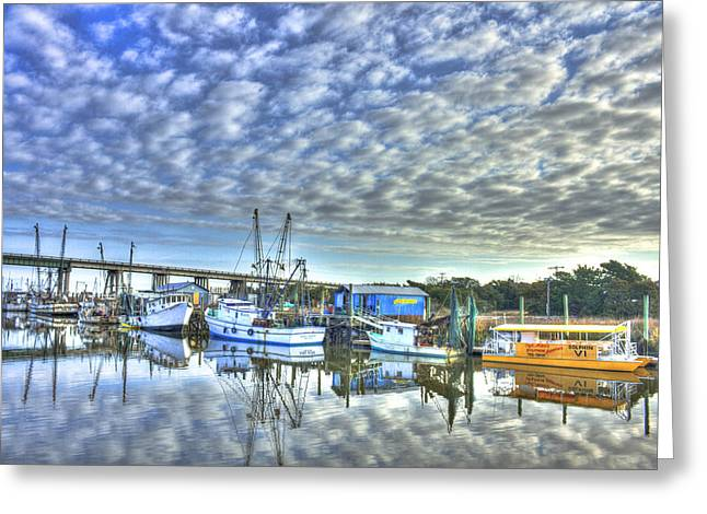 Fishing Creek Greeting Cards - Sunrise Reflections Tybee Island Georgia Greeting Card by Reid Callaway