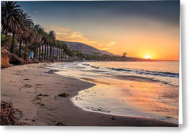 Ventura California Greeting Cards - Sunrise Refugio State Beach Greeting Card by Danny Goen