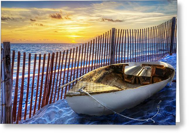 Canoe Photographs Greeting Cards - Sunrise Sail Greeting Card by Debra and Dave Vanderlaan