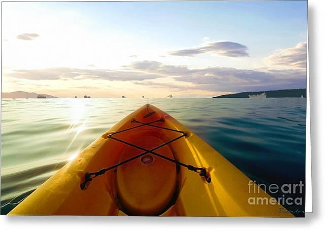 Photo Manipulation Drawings Greeting Cards - Sunrise Seascape Kayak Adventure Greeting Card by Ricardos Creations