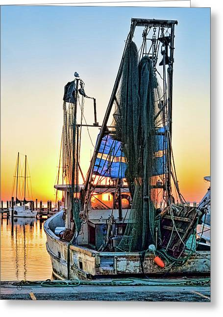 Shrimpers Greeting Cards - Sunrise Shrimpboat Greeting Card by Sally Mitchell