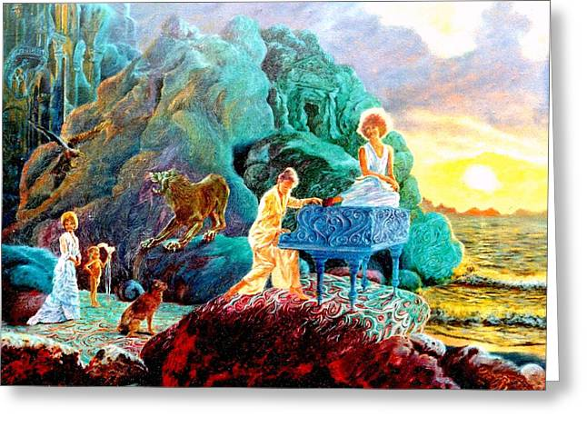 Dog Play Sea Greeting Cards - Sunrise Sonata Greeting Card by Henryk Gorecki