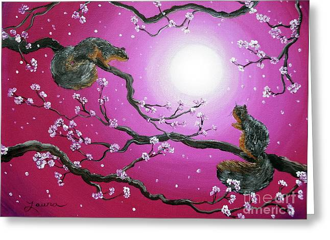 Pink Flower Branch Greeting Cards - Sunrise Squirrels Greeting Card by Laura Iverson