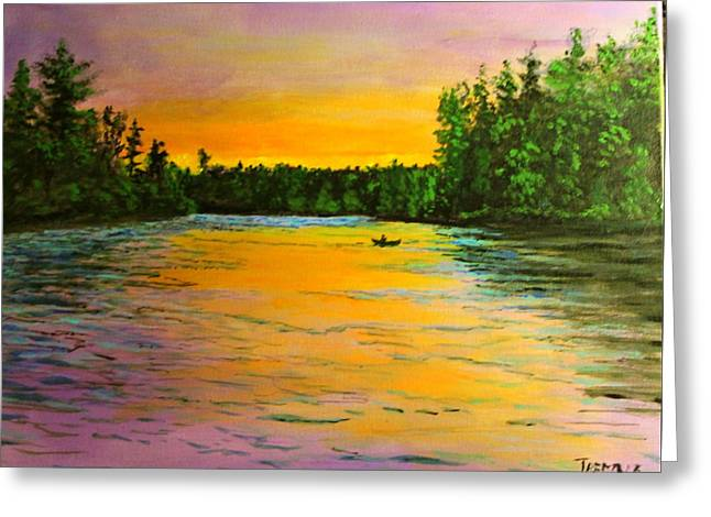 Canoe Greeting Cards - Sunrise Stream Greeting Card by William Tremble