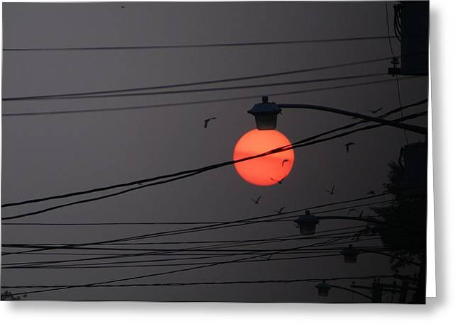 Night Lamp Greeting Cards - Sunrise street lamp Greeting Card by Kenneth Summers