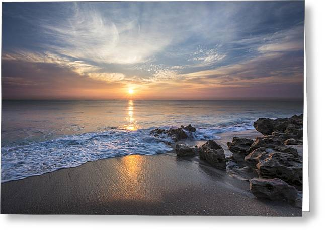Sanddune Greeting Cards - Sunrise Surf Greeting Card by Debra and Dave Vanderlaan