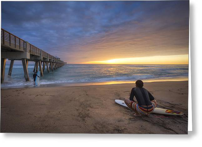 Surfer Art Greeting Cards - Sunrise Surfer Greeting Card by Debra and Dave Vanderlaan
