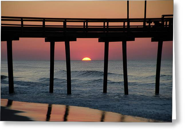 Sunrise Through The 32nd Street Pier Avalon New Jersey Greeting Card by Bill Cannon