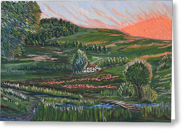 Paradise Road Paintings Greeting Cards - Sunrise Touch Greeting Card by Felicia Tica