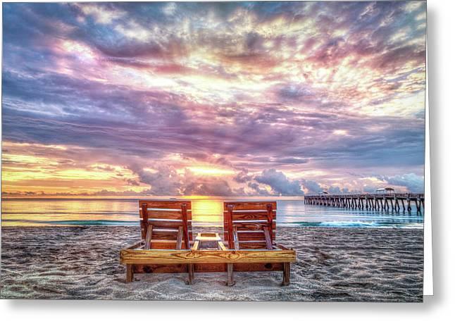 Sunrise View Greeting Card by Debra and Dave Vanderlaan