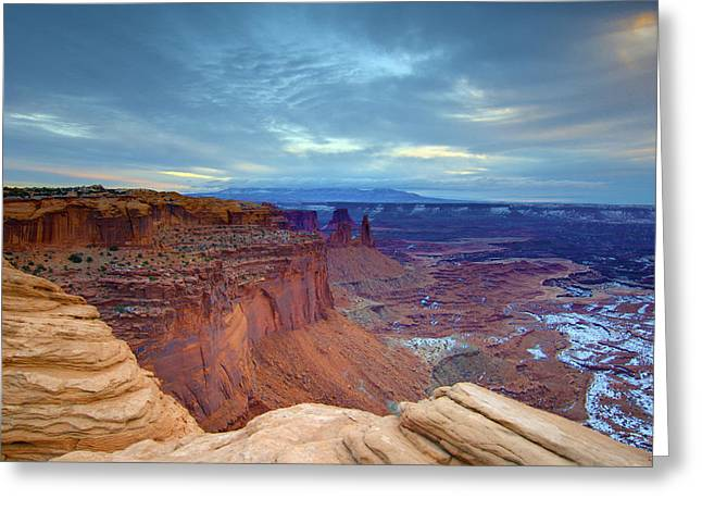 Sandstone Greeting Cards - Sunrise with Cloudy Morning Greeting Card by Paul Cannon