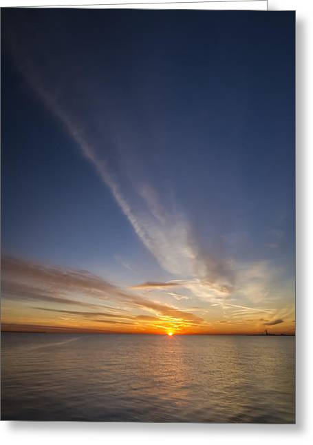 Lake Michgan Greeting Cards - Sunrise with vertical clouds Greeting Card by Sven Brogren