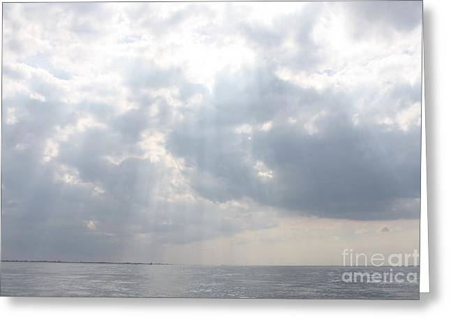 Reflection Of Sun In Clouds Greeting Cards - Suns Rays Over The Atlantic Ocean Greeting Card by John Telfer