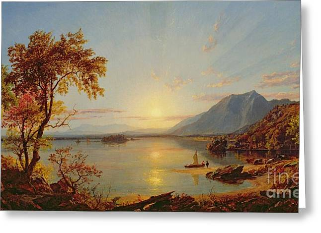 Hills Greeting Cards - Sunset - Lake George Greeting Card by Jasper Francis Cropsey