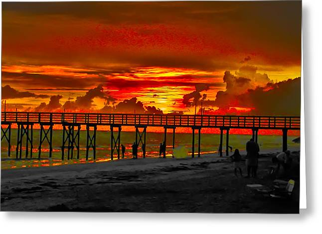 Beach Photograph Greeting Cards - Sunset 4th of July Greeting Card by Bill Cannon