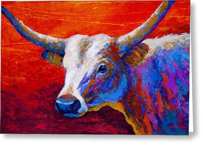 Texas Longhorn Cow Greeting Cards - Sunset Ablaze Greeting Card by Marion Rose