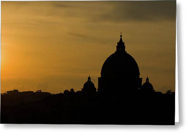 Italian Sunset Greeting Cards - Sunset Above Rome Greeting Card by EZeePics